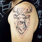 deer tattooed on the shoulder